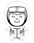 Astronauts Tracing Coloring Page for kids