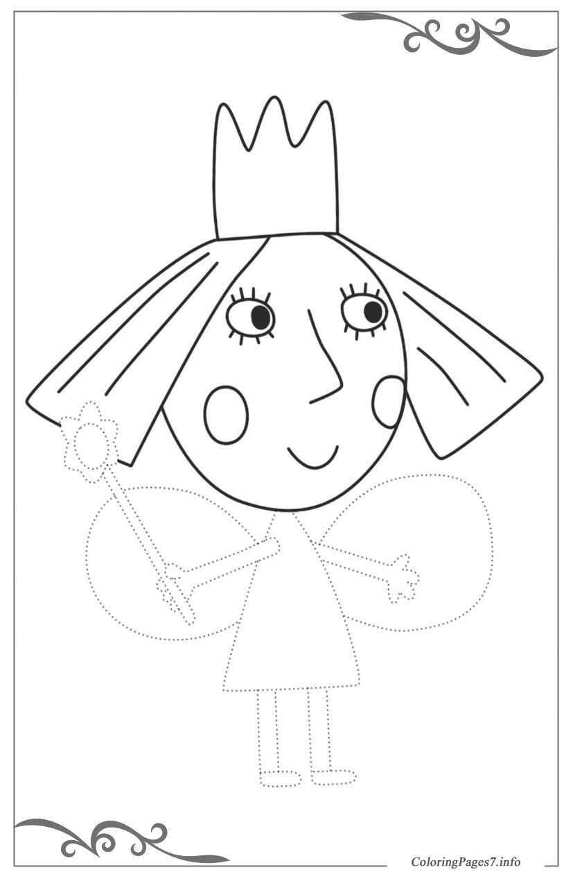Ben & Holly\'s Little Kingdom Printable Tracing Coloring Page