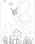 Butterflies Tracing Coloring Page for kids