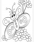 Butterflies Coloring page template printing