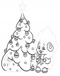 Christmas tree Tracing Coloring Page for kids