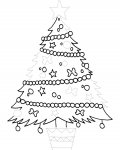 Christmas tree Printable Tracing Coloring Page