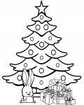Christmas tree Coloring page template printing