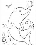 Dolphins Coloring page template printing