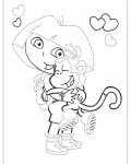 Dora the Explorer Tracing Coloring Page for kids
