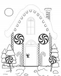 Gingerbread houses Tracing Coloring Page for kids