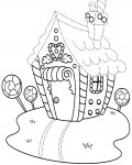 Gingerbread houses Free Tracing Coloring Page