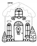 Gingerbread houses Printable Tracing Coloring Page