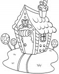 Gingerbread houses Coloring page template printing