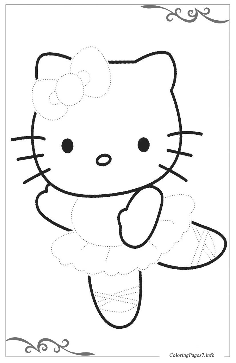 Hello kitty tracing coloring page for kids