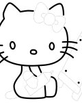 Hello Kitty Free Tracing Coloring Page