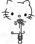 Hello Kitty Printable Tracing Coloring Page