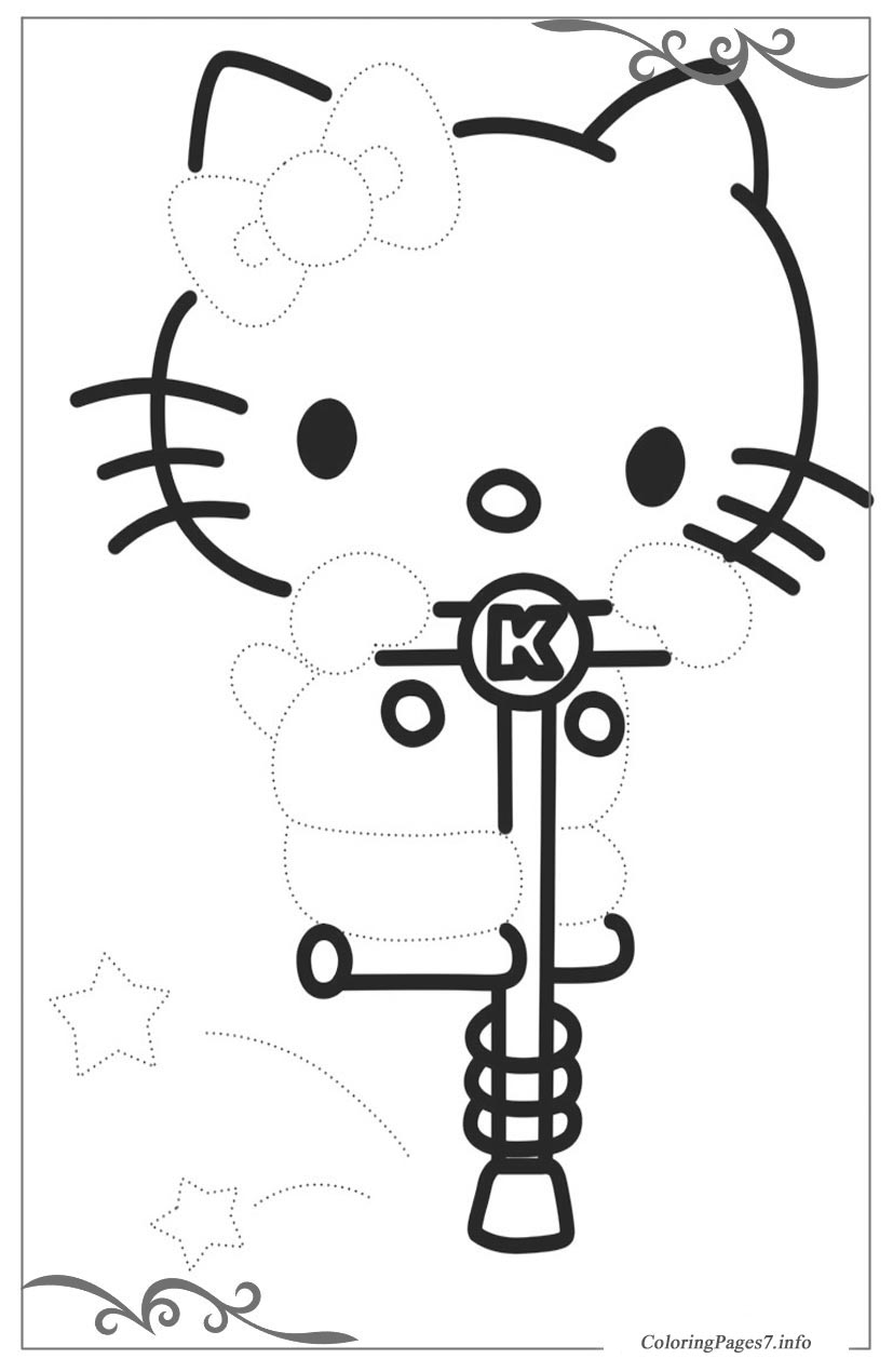 Hello kitty download and print free tracing coloring page