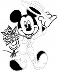 Mickey Mouse Free Tracing Coloring Page