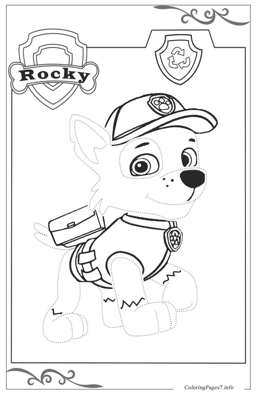 Paw Patrol Free Tracing Coloring Page