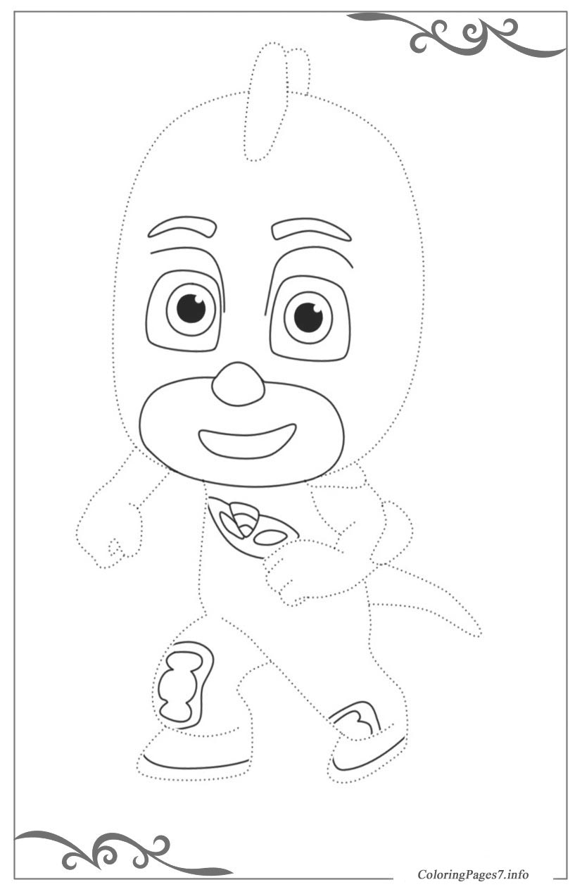 PJ Masks Printable Tracing Coloring Page