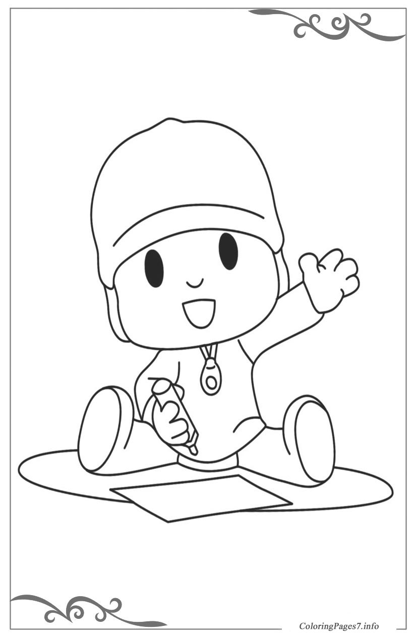 Pocoyo Free Coloring Page Template Printing