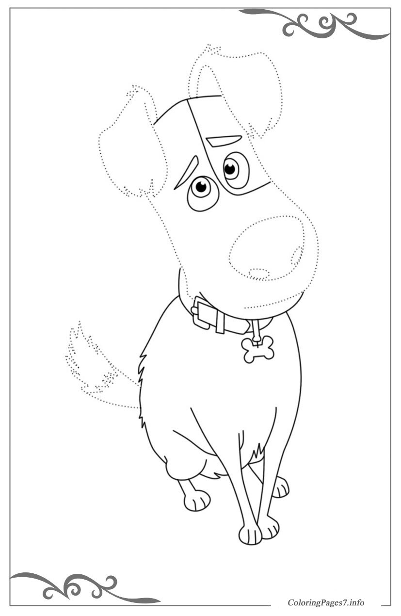 The secret life of pets free tracing coloring page for Secret life of pets printable coloring pages