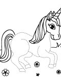 Unicorns Printable Tracing Coloring Page