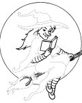 Witches Printable Tracing Coloring Page